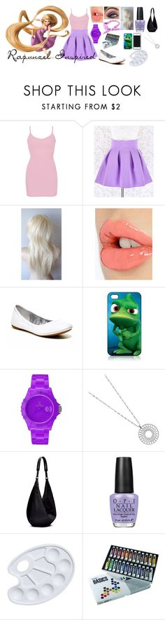 """""""Rapunzel Inspired"""" by blackest-raven ❤ liked on Polyvore featuring Disney, BKE core, Charlotte Tilbury, Lucky Brand, Kate Spade Saturday, AT&T, Toy Watch, The Row and OPI"""