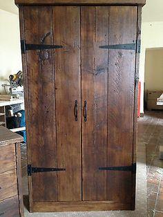 HandMade Chunky Rustic Reclaimed Wood Plank Double Wardrobe Warm Oak Finish in Home, Furniture & DIY, Furniture, Wardrobes   eBay