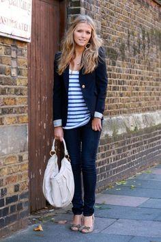 blazer + stripes + hair