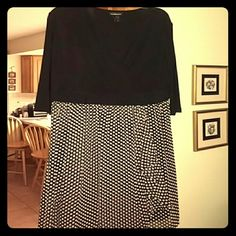 Cute Lane Bryant Polka Dot Skirt Dress sz 18 Cute, versatile black and polka dot dress. You can wear it to work or on a date. Add a belt - black, blue, red...any color!! 3/4 sleeves. Only worn once. Lane Bryant sz 18 Lane Bryant Dresses
