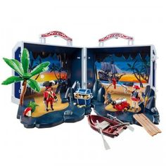 The Take Along Pirate Treasure Chest opens up to reveal a secluded tropical island complete with two pirate figures.