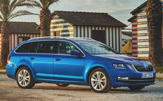 Download wallpapers Skoda Octavia Combi, 2017 cars, blue octavia, wagons, Skoda