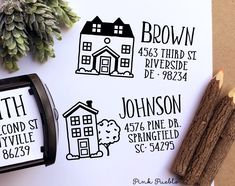 Personalized Self Inking Address Stamp With House Return Stam PinkPueblo Personalised Rubber Stamps