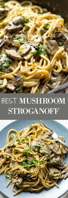 Looking for pasta recipes for dinner? Try my Creamy Mushroom Stroganoff. It's loaded with flavor and so delicious. Make it with vegetable broth and you'll have one of the best vegetarian dinner recipes for family. Delicious winter recipe as well as comfort food recipe. #comfortfoodfeast #dinnertime #dinnerrecipes #vegetarianrecipes #mushrooms #pasta
