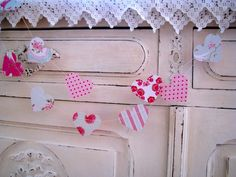 Paper Garland Shabby Chic Roses and Hearts TEMPORARY by LaMiaCasa