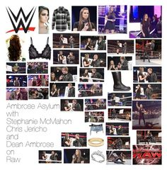 """""""Ambrose Asylum with Stephanie McMahon, Chris Jericho, and Dean Ambrose on Raw"""" by wwediva72 ❤ liked on Polyvore featuring beauty, WWE, Monday, Tiffany & Co., Anine Bing, Balmain and H&M"""