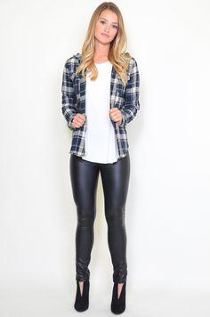 Blue Hooded Flannel Print Shirt from Saylor