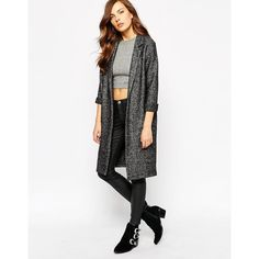 AX Paris Duster coat ($67) ❤ liked on Polyvore featuring outerwear, coats, black, black coat, black duster coat, ax paris, woolen coat and duster coat