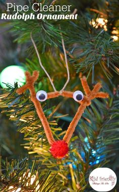 Easy DIY Pipe Cleaner Rudolph Ornament for Kids to Make - Perfect for preschool, and school Christmas Party Craft! http://www.kidfriendlythingstodo.com