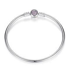 Elegant Purple Heart 925 Sterling Silver Love DIY Bracelet For Women