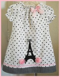 Paris chic peasant style tunic Eiffel tower applique polka dot gingham girl dress baby infant toddler hand made boutique custom