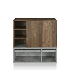 Declutter your apartment or studio with an entryway shoe rack. This distressed wood and cement finish is an industrial style, great for bachelor pads. Make it easy for you and your roommate to organize Wood Shoe Storage, Shoe Storage Cabinet, Door Furniture, Furniture Legs, Open Shelving, Adjustable Shelving, Grey Wood, Distressed Wood, White Laminate