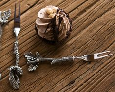 Vagabond House's hors d'oeuvres forks for petite bites of Chocolate tarts!