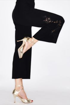 Pugliese tango pants in limited edition. Made of soft stretch fabric with Chantilly lace detail. A must have to complete your tangier wardrobe. Tango Dance, Tango Dress, Jazz Pants, Tangier, Black Outfits, Chantilly Lace, French Lace, Fashion Sewing, Looking Stunning