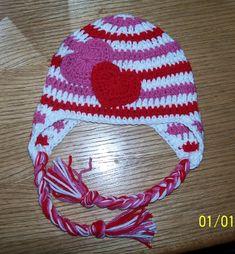 Crochet Valentines Day Earflap hat