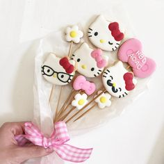 - Petite Fille by JJ and like OMG! get some yourself some pawtastic adorable cat apparel! Bolo Da Hello Kitty, Hello Kitty Cookies, Hello Kitty Birthday Cake, Iced Cookies, Cute Cookies, Cupcake Cookies, Sugar Cookies, Decoracion Hello Kitty, No Bake Cake Pops