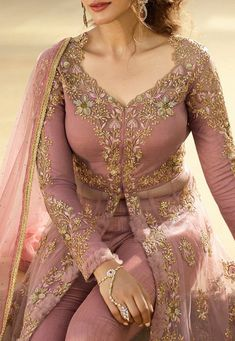 Embroidered Net Front Slit Abaya Style Suit in Dusty Pink Designer Party Wear Dresses, Kurti Designs Party Wear, Indian Designer Outfits, Indian Outfits, Lehenga Suit, Lehenga Style, Party Wear Lehenga, Abaya Style, Anarkali Suits