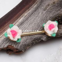 A Pair of Roses Delight Handmade Clay Flower Nipple Barbell Nipple Rings, Belly Rings, Vintage Roses, Barbell, Body Jewelry, Ear Piercings, Bobby Pins, Hair Accessories, Clay