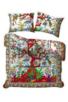 Reversible Comforter Queen Cotton Mandala Duvet Covers Handmade Doona Blanket  #Handmade #Traditional Comforter Cover, Duvet Cover Sizes, Blanket Cover, Quilt Cover, Mandala Duvet Cover, Mandala Tapestry, Tapestry Wall, 100 Cotton Duvet Covers, Pillow Covers