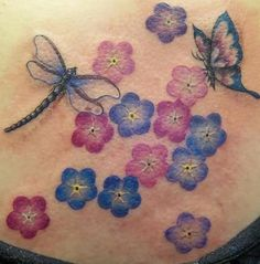 Color Flowers With Butterfly And Dragonfly Tattoo