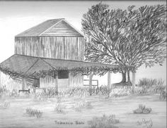 Lester m duade pencil drawing paper copy barn old house for Tobacco barn house plans