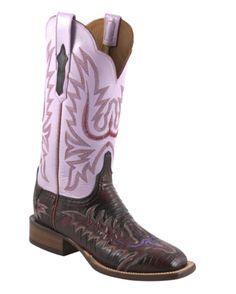 Lucchese Women's Black Cherry Lizard Boots