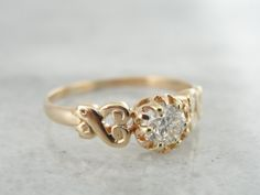 European Cut Diamond Antique Rose Gold Sweet by MSJewelers on Etsy, $2,185.00