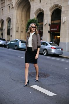 phillip-lim-plaid-bomber-jacket-pencil-skirt-covered-buttons-ivory-blouse-work-wear2
