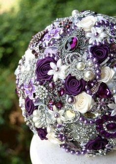 Purple Brooch Wedding Bridal Bouquet Deposit on by annasinclair Broschen Bouquets, Purple Wedding Bouquets, Wedding Brooch Bouquets, Wedding Flowers, Wedding Dresses, Perfect Wedding, Our Wedding, Dream Wedding, Wedding Stuff
