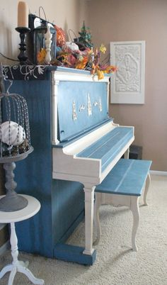 The color of Santorini ❤ASCP Aubusson Blue & white painted piano