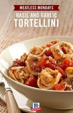 Looking for an easy, veggie-loaded dinner recipe? Makes a quick meatless meal with tortellini, mushrooms, canned tomatoes, basil leaves and garlic salt.