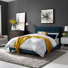 Modway Amira Mid-Century Modern Upholstered Fabric Tufted Queen Bed Frame With Headboard In Azure Bed Platform, Upholstered Platform Bed, Tufted Bed, Upholstered Beds, Bed Frame And Headboard, Fabric Bed Frames, Teal Headboard, Panel Bed, My New Room