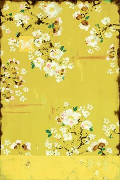 Fraga Art, Kathe's paintings are inspired by the romance of vintage French wallpapers and Chinoiserie with a modern twist. on frescoed canvas with Japanese gold ink. French Wallpaper, Flower Wallpaper, Gold Ink, Arte Floral, Art Design, Mellow Yellow, Painting Inspiration, Color Inspiration, Japanese Art