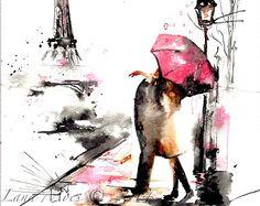 Original Watercolor Summer in Paris Illustration by LanasArt
