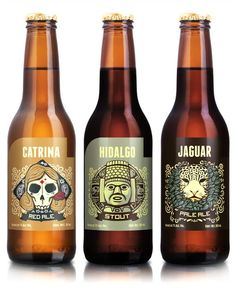 """Three new beers were developed to launch the brewery, Hidalgo Stout, Catrina Red Ale and Jaguar Pale Ale. Cerveceria Hacienda needed labels to reflect the cultural uniqueness of Mexico while expressing the individuality of the beers and the brewery. This was achieved through lovingly crafted illustration and design by Andrew Rose."""