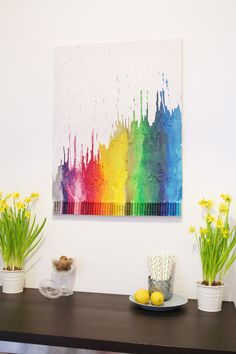 Wax Crayon Art - DIY, really want to try this Wax Crayon Art, Crayon Crafts, Wax Art, Wax Crayons, Melting Crayons, Crayon Ideas, Crayon Canvas, Creation Art, Creation Deco