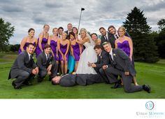 Tacoma, Seattle, Washington Wedding Photographer - Unique Moments Photography - Best Outdoor Bridal Party Image Gig Harbor Golf course: Unique moments Photography of Gig Harbor Captured this image at a golf course. The bride is a scratch Golfer and the groom introduced her to his golf friends at a golf course. Little did these big bad male golfers know, But, the bride was one of the best female golf pros in the area. She proceeded to wipe them out with her golf scores at that meeting. We…