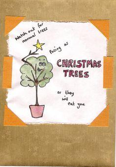 evil xmas tree card Homemade Christmas, Xmas Tree, Cards, Christmas Tree, Xmas Trees, Maps, Playing Cards, Christmas Trees