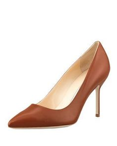 BB Leather 90mm Pump, Caramel (Made to Order) by Manolo Blahnik at Bergdorf Goodman. #manoloblahnikheelsbergdorfgoodman
