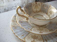 antique English tea cup and saucer set, Royal Doulton bone china tea set plate trio, pastel blue gold,