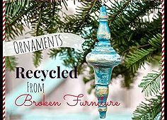 DIY Christmas tree ornaments made from broken furniture pieces! They're pretty and creative and ...wow.