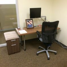 Staples (Pembroke, FL)  Waveworks adjustable height table and storage with Mix-it mesh back task seating in private office.  #NationalOffice  #FurnitureWithPersonality