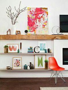 Love this rough wooden shelf!