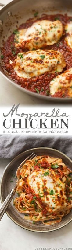 30 Minute Mozzarella Chicken in Tomato Sauce - a quick and easy weeknight recipe for chicken smothered in tomato sauce with melty mozzarella! Serve with bread or pasta! #chickenmozzarella #chickenintomatosauce #mozzarellachicken #30minutemeals | http://Littlespicejar.com