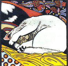 "Kit Hiller (Tasmanian contemporary artist) - ""Sleeping cats"" - Hand coloured linocut"