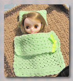 Crocheted blanket + pillow for Blythe Midddie doll free shipping by Shopdollwithowl on Etsy
