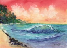 Sunset and Waves Original Watercolor Painting from Kauai Hawaii by Marionette rainbow, sunrise, beach, ocean, north shore Arches Watercolor Paper, Easy Watercolor, Watercolor Landscape, Sunrise Drawing, Hawaii Landscape, Ink Painting, Watercolor Paintings, Original Paintings, Sunset Art