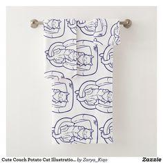 Cute Couch Potato Cat Illustration Bath Towel Set Potato Cat, Animal Totems, Bath Towel Sets, My Spirit Animal, Artwork Design, Cute Illustration, Hand Towels, Print Design, Vibrant
