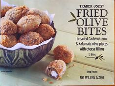 Trader Joe's Fried Olive Bites Review - I love olives. I think it's my Mediterranean heritage (Croatia and Italy) that has genetically pre-disposed me to love them. I love the briny tang of olives in food. I think we go through at least a gallon of Trader Joe's Spanish Olive Oil every month. We eat a ton of Kalamata olives. #frozen #olive #snack #traderjoes Spanish Olive Oil, Spanish Olives, Cheese Cultures, Mascarpone Cheese, Creamy Cheese, Kalamata Olives, Trader Joe's, Serving Size