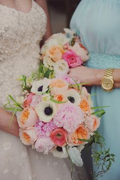 Ranunculus, peony and anemone filled bouquet: http://www.stylemepretty.com/2013/05/28/new-orleans-wedding-from-amy-carroll-photography/   Photography: Amy Carroll - http://acarrollphotography.com/
